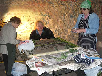 Petalling a well dressing takes a week of intensive work by locals